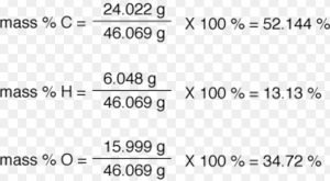 Percentage composition in ethanol
