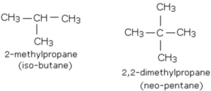 Branched chain alkanes