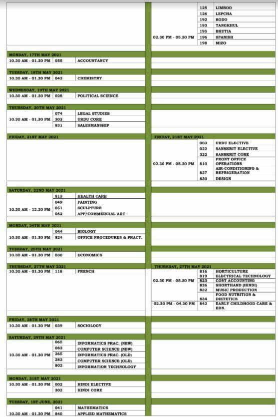 CBSE Datesheet Class XII