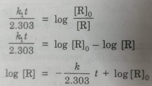 Calculation of rate constant