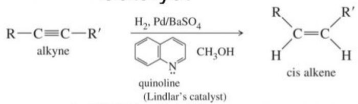 Catalytic reduction of alkynes with dihydrogen in presence of Lindlar's catalyst