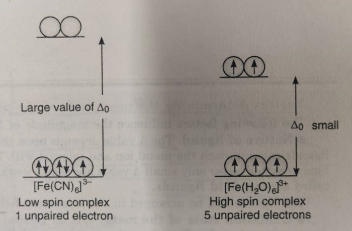 Complex [Fe(CN)6]3- and [Fe(H2O)6]3+