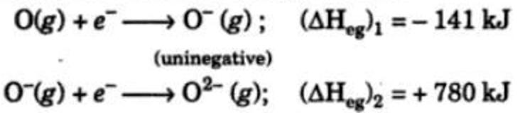 Electron gain enthalpy of oxygen