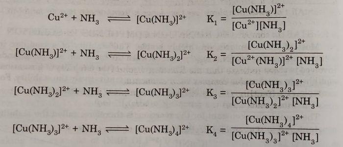 Formation of Complex ion tetraamminecopper(III)ion