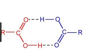 Hydrogen bonding in acids