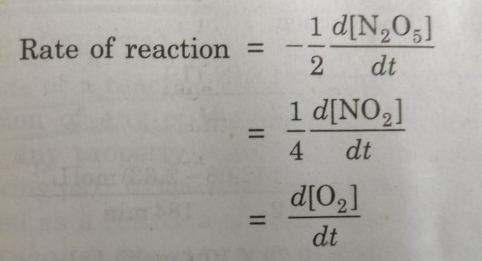 Rate of a chemical reaction