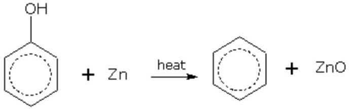Reduction of phenol with zinc dust