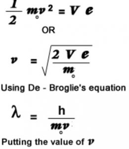 de Broglie wavelength of electron