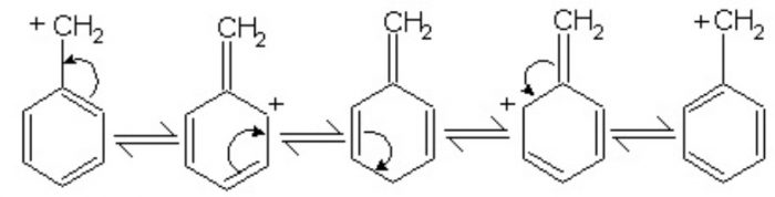 Stability of benzyl carbocation