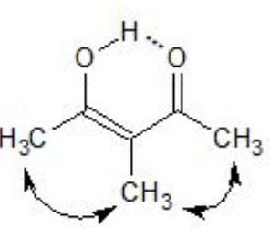 Steric hindrance in Methylacetylacetone