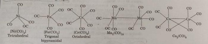 Structure of metal carbonyls