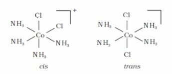 cis and trans isomers of [CoCl2(NH3)4]+