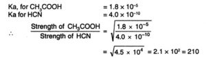 strength of acetic acid and HCN